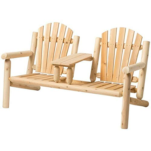 JumpingLight White Cedar 3 Piece Adirondack Furniture Set in Natural Durable and Ideal for Patio and -