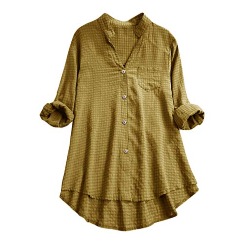 HYIRI Women's Casual V Neck Loose Linen Performance Cotton Plus Size Plaid Button Tanic Shirt Blouse Tops Yellow -
