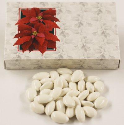 (Scott's Cakes Snow White Jordan Almonds in a 1 Pound Poinsettia Box)