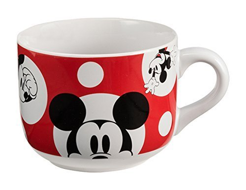 Mickey Mouse Coffee Mug (Vandor 89053 Disney Mickey Mouse 20 Ounce Ceramic Soup Mug, White/Red)