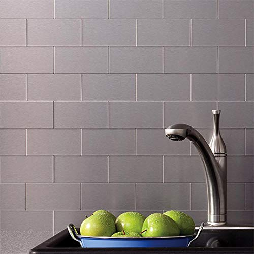 Art3d 100-Pieces Peel and Stick Tile Kitchen Backsplash Metal Wall Tiles, Brushed Aluminium Subway