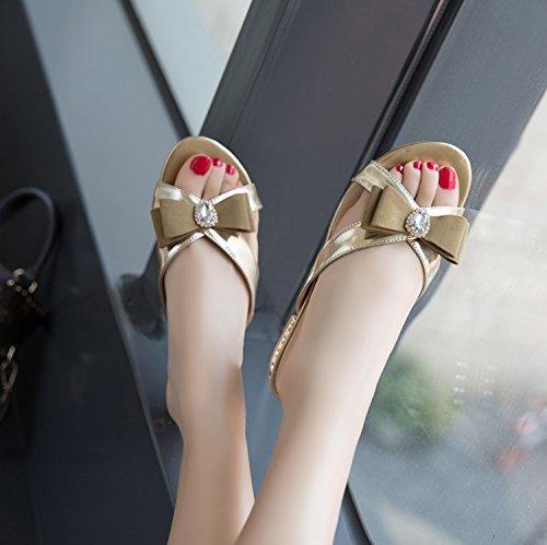 Mit Süße Zyushiz pu Freizeit Niedrigen chip Schmetterling Komfort Weibliche Dew Hausschuhe On Gold Sandalen Die cool 37eu qzrztfFx
