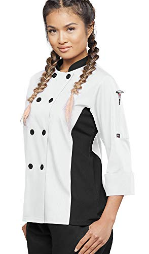 Women's 3/4 Sleeve Chef Coat Mesh Side Panels (XS-3X, 4 Colors) (X-Large, White/Black) - Ladies Executive Chef Coat