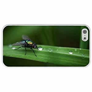 Customized Apple iPhone 5 5S PC Hard Case Diy Personalized DesignCover fly grass macro White
