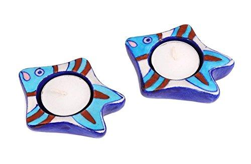 Blue Pottery Tea Light Candle Votive Holder Stand Hand Painted Fish Shape, Set of (Fish Votive Holder)