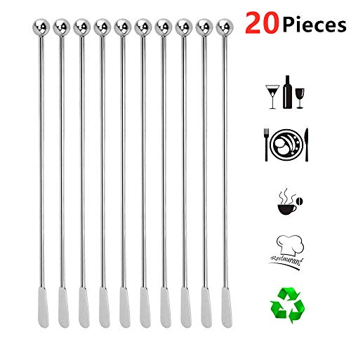 20 pcs Stainless Steel Coffee Beverage Stirrers Stir Cocktail Drink Swizzle Stick 7.4