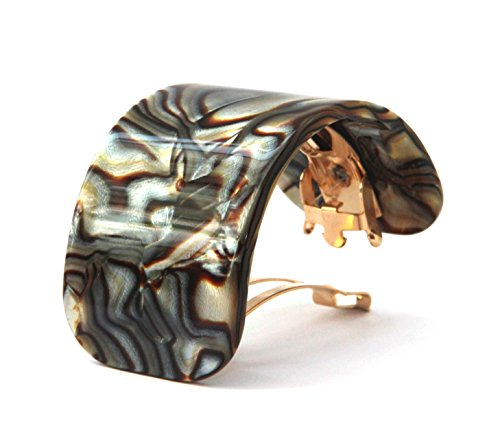New Exclusive Collection French Onyx Hair Barrettes Small 2 Inch Long Curve Hair Clip Barrette ()