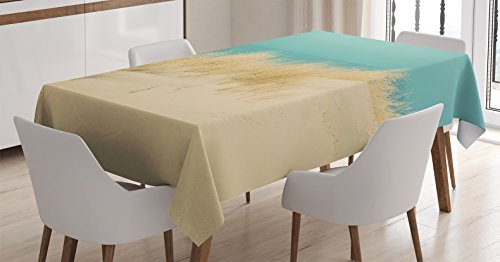 Modern Decor Tablecloth by Ambesonne, Calm Sunny Beach Scenery Sand Dunes Morning in Baltic Sea Tranquil Picture, Dining Room Kitchen Rectangular Table Cover, 60W X 90L Inches, Cream Teal