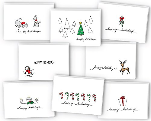 Happy Holidays Greeting Card/Gift Tag Collection - 24 Cards & Envelopes