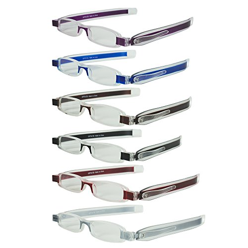 6 Folding Pocket Reading Glasses in Pen Clip Case - Lightweight, Portable and Compact Rotating Frames - Includes 6 Colors for Men and Women - +250 - By Optix - Folding Glasses
