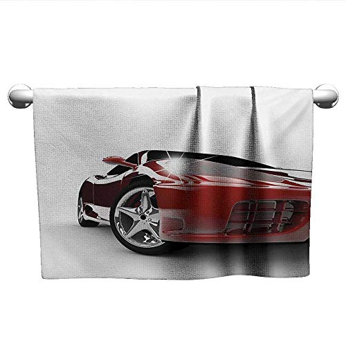 alisoso Teen Room,Kids Bath Towels Modern Automotive Vivid Toned Car Back View Prestige Passion Artistic Image Gym Towels for Women Black and Ruby W 35