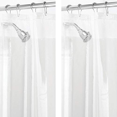 mDesign Waterproof, Mold/Mildew Resistant, Heavy Duty PEVA Shower Curtain Liner for Bathroom Shower and Tub - No Odor- 3 Gauge, Long - 2 Pack - Clear