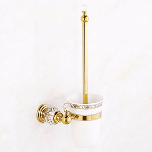 ories LAONA The Brass Gold Plated Crystal Bath Hardware Hang on Towel Rack Double bar Toilet Paper Holder Toilet Brush and Toilet Brush ()