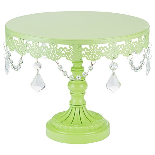Sophia Collection Lime Green 10 Inch Cake Stand with Crystals, Round Metal Wedding Birthday Dessert Cupcake Pedestal Display (Stand Cupcake Pedestal)