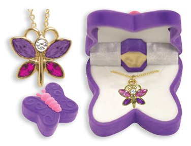 Crystal Butterfly Girl (BUTTERFLY Necklace Charm Pendant w/ Crystal Wings in Butterfly Velour Gift Box - PURPLE)