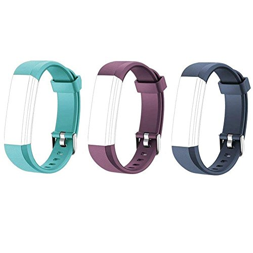 Lintelek Replacement Bands for Fitness Tracker, Replacement Straps, Adjustable Wristbands for Activity Tracker, ID115U or ID115UHR Smart Bracelet Sets for Men Women and Kids (Green+Blue+Purple) (Fitness Tracker Wrist Bands)