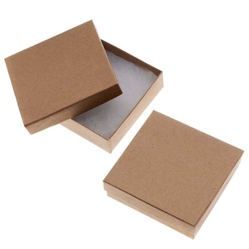 Kraft Brown Square Cardboard Jewelry Boxes 3.5 x 3.5 x 1 Inches (100) by Beadaholique