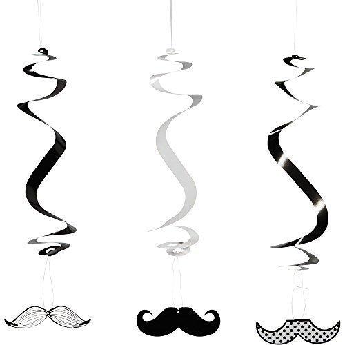 Fun Express Paper Mustache Dangling Swirls Set (2-Pack of 12)