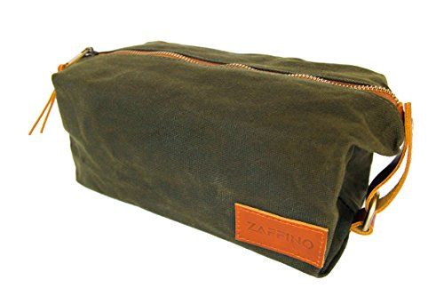 Zaffino Waxed Canvas Genuine Leather Trim Dopp Kit - Unisex Toiletry Bag & Travel Kit by Zaffino