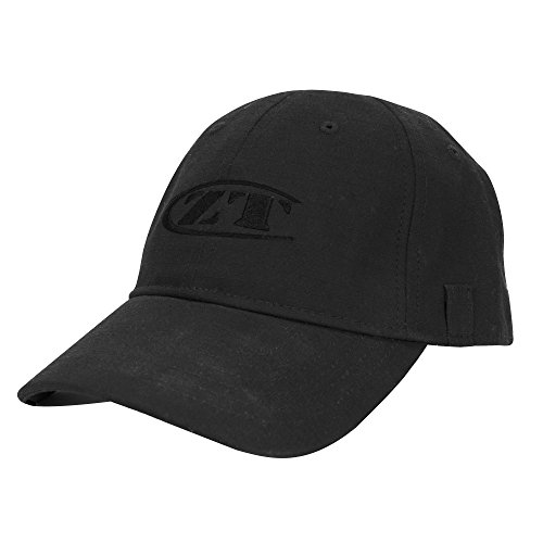 Zero Tolerance Logo Cap 1 - Tactical; All-Black with Embroidered ZT logo; Velcro Adjustable Fit; Unstructured Black Cotton Ripstop Material; 6-Panel Construction; Vent Holes; Utility Loops for Glasses