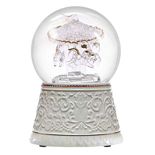 Nice Pies Snow Globe Water Ball Crystal Multicolor Auto Color-Changing Rotation Wind Up Carousel Music Box Luxury Color Change Luminous Rotating Ceramic Base - Carousel Snow