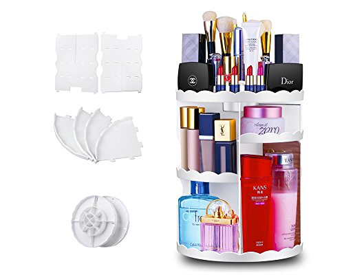 Maxkim Makeup Organizer,360 Degree Rotating Adjustable Cosmetic Storage Display Case with 8 Layers Large Capacity, Fits Jewelry,Makeup Brushes, Lipsticks and More