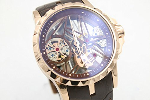 My_TimeZone Luxury brand top high best quality Mechanical gold case brown leather strap watch (Replica Roger Dubuis)