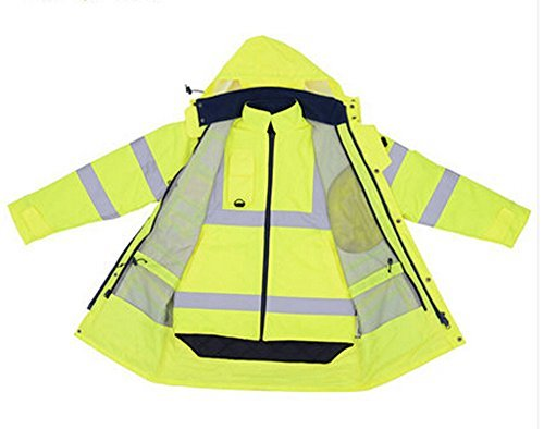 Holulo Waterproof 7-in-1 Reflective Class 3 Safety Parka Jacket with Zipper and Pockets Size XL by Holulo (Image #7)