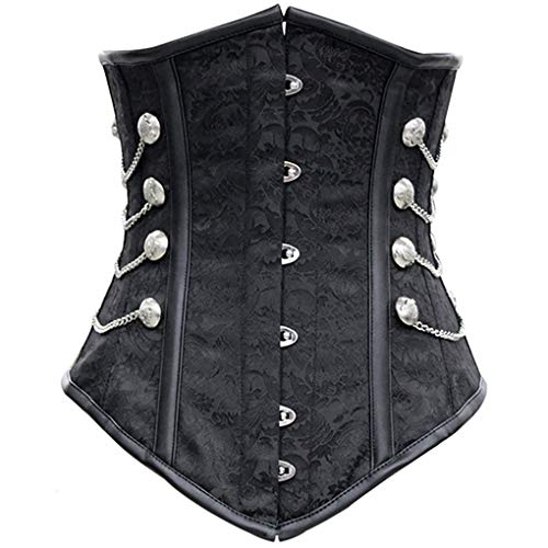 MBEN Waist Trainer, Bodice Underbust Weight Loss, Gothic Steampunk Spiral, Floral Embroidered Underwear Bodice top, Suitable for Weight Loss Shaping,L