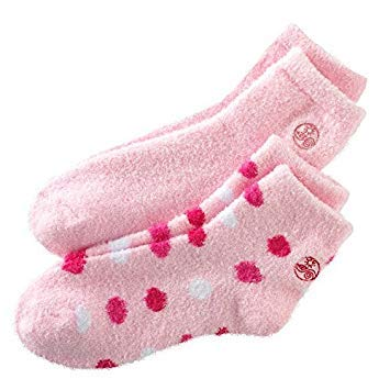 Earth Therapeutics Aloe Socks, 2 Pair Per Package (Pink and Pink Polka Dots) - Go Velvet Moisturizing Cream