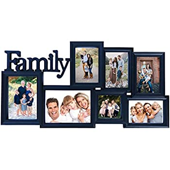 BestBuy Frames Collage Picture Frames with Waterfall Edge Wall Hanging Picture Frame in Various Sizes with Family Title: 7 Openings Perfect Photo Frame for ...