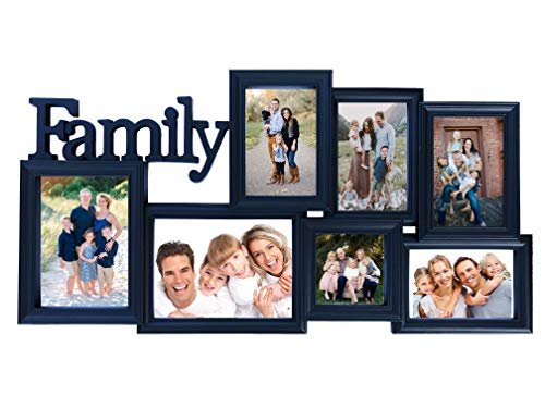 BestBuy Frames Collage Picture Frames with Waterfall Edge Wall Hanging Picture Frame in Various Sizes with Family Title: 7 Openings Perfect Photo Frame for Weddings, Birthdays & Family Pictures
