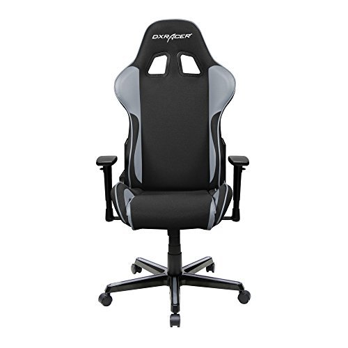 DXRacer Formula Series DOH/FH11/NG Newedge Edition Racing Office Chair Recliner Esport ESL Dreamhack PC Gaming Chair Ergonomic Computer Fabric Chair Rocker Comfortable Chair With Pillows (Black/Grey) - Low Back Swivel Rocker