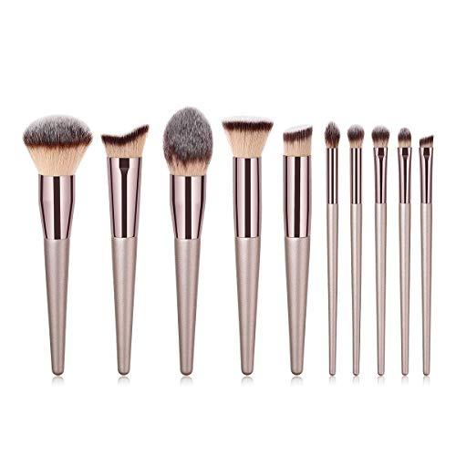 fashion makeup 10pcs Luxury Champagne Gold Makeup Brushes Set For Concealer, Foundation, Blending, Blush, Eye Shadow,etc. (Color : Gray, Size : 20 13 6)