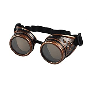 TIFENNY Vintage Style Steampunk Goggles Welding Punk Glasses Cosplay (Black, Red)
