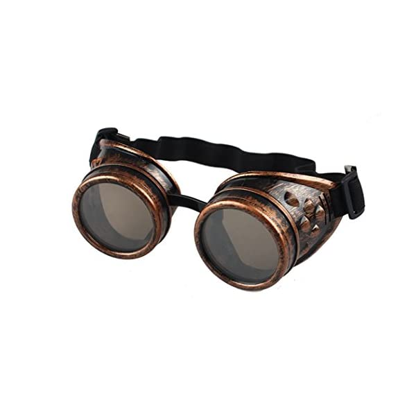 TIFENNY Vintage Style Steampunk Goggles Welding Punk Glasses Cosplay (Black, Red) 2