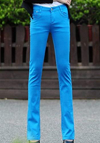 Casual A Moda Tinta Unita Jeans Donna Con Da Himmelblau Svasati 1 Bottone Fit Pantaloni Aderenti Slim Tasche Ragazza Micro BOv4qEw