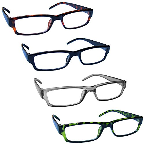 The Reading Glasses Company Brown Black Grey Green Lightweight Readers Value 4 Pack Mens Womens RRRR32-2176 +2.00 -