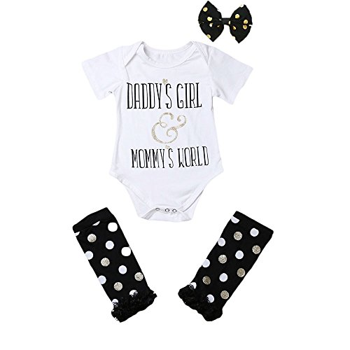 Newborn Baby Girls Letter Print Pompom Romper + Black Spot Lace Ruffled Jants Warmers With Bowknot Headdress 3Pcs Outfits (0-3 Months)