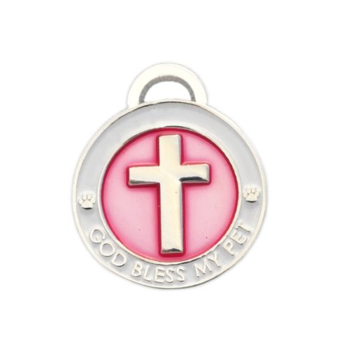 Luxepets Pet Collar Charm, Cross, Small, - Pink Pet Charm