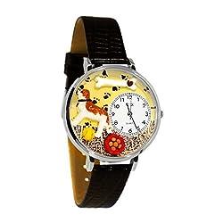 Saint Bernard Black Skin Leather And Silvertone Watch #WG-U0130070