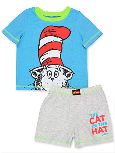 Dr. Seuss The Cat in The Hat Toddler Boys 2 Piece Shorts and T-Shirt Pajamas Set (4T, Grey/Blue)