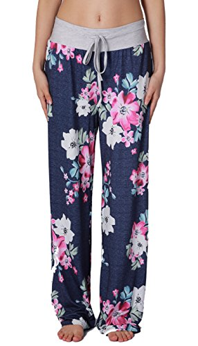 NEWCOSPLAY Women's Comfy Stretch Floral Print High Waist Drawstring Palazzo Wide Leg Pants (XL, (Floral Wide Leg Trouser)