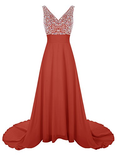 Wedtrend Women's Long Chiffon Prom Dress with Train Bridesmaid Dress with Beads WT12007 Red 2