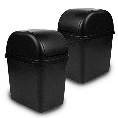 Zone Tech Portable Mini Car Garbage Can with Latch Grip - 2-Pack Classic Black Premium Quality Black Universal Traveling Portable Car Trash Can (Cedar Waste Receptacle)