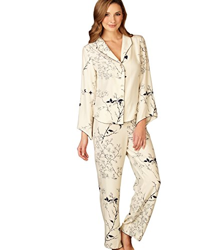 Julianna Rae Women's Goodnight Midnight 100% Silk Pjs, Midnight Floral, L by Julianna Rae