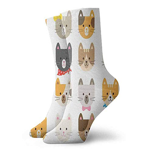 Super elastic socks Animals,Cats Costume with Glasses and Bow Tie Bandana Cartoon Artwork Craft Pattern Print,Multicolor,socks for men -