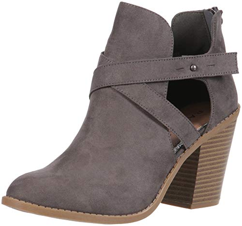 Rampage Women's Vedette Side Cut Out Chunky Stacked Heel Bootie Ankle Boot, Grey Micro SDE, 8.5 M US