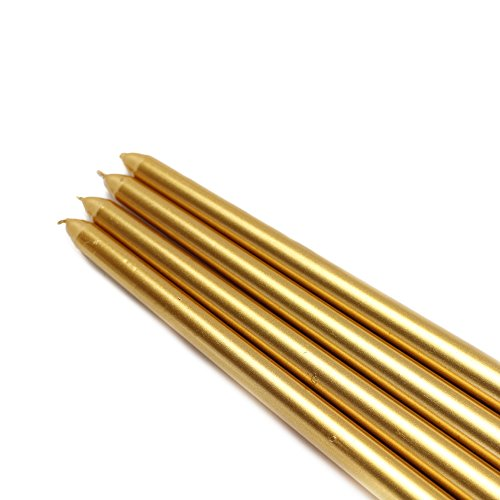 Zest Candle CEZ-085_12 144-Piece Taper Candle, 12'', Metallic Gold by Zest Candle (Image #2)