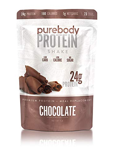 Pure Body Protein Shake & Supplement, 16 oz, 24g Protein, Low Sugar, Low Carb, 180 Calorie Meal Replacement (Chocolate)